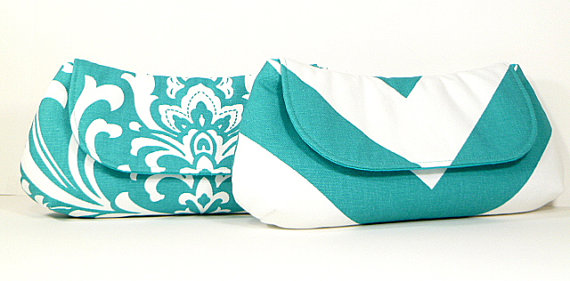 Mariage - Bridesmaid Clutches Wedding Party Clutches Bridal Clutch Choose Your Fabric Aqua Teal Turquoise Set of 4