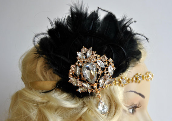 Wedding - Vintage Inspired Headband, The Great Gatsby Headband, 1920s headpiece, Flapper Feather Headband, 1920's, Gold, Black ,rhinestone