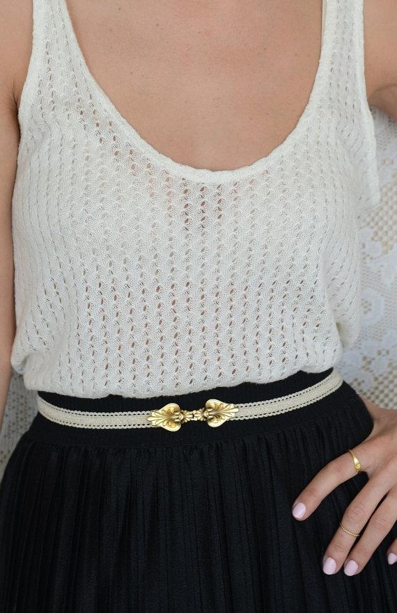 Mariage - Ivory belt - Bridal Belt - Gold belt - Wedding Belt - Bridesmaids Belt - wedding dress Belt - Gold buckle - elastic lace belt - waist Belt