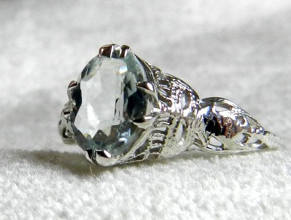 Mariage - Engagement Ring 1.10 Ct Aquamarine Engagement Ring 14K White Gold Art Deco Filigree Aquamarine Ring March Birthday