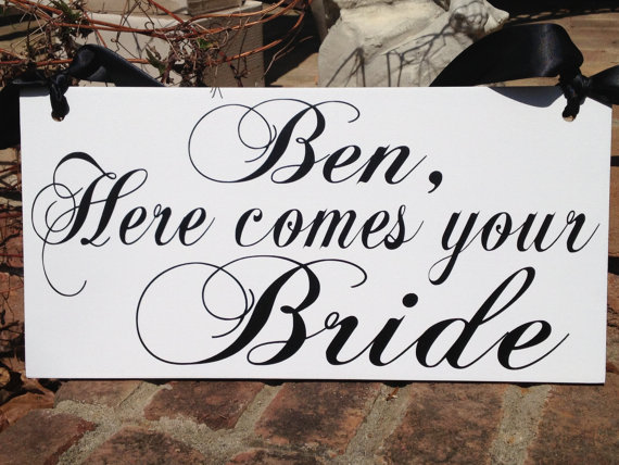 Mariage - Weddings signs, HERE COMES the BRIDE, flower girl, ring bearer, photo props, single or double sided, 8x16