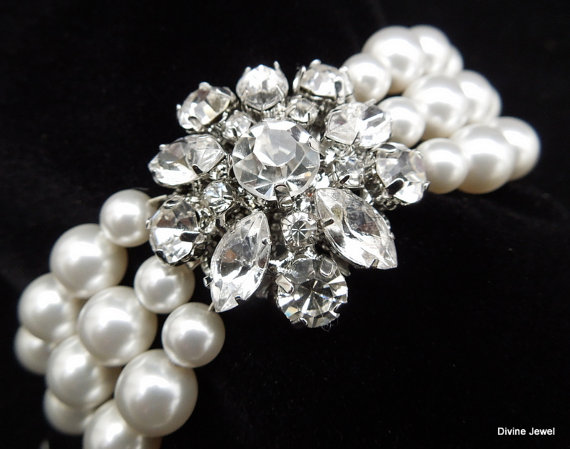 Mariage - Pearl Bracelet,Bridal Pearl Bracelet,Crystal and Pearl Bridal Bracelet,Silver Filigree Flower Bridal Bracelet Cuff,Ivory Pearl,SAVANNAH