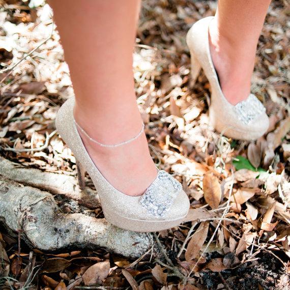 Mariage - rhinestone bridal shoe clips - NIKA