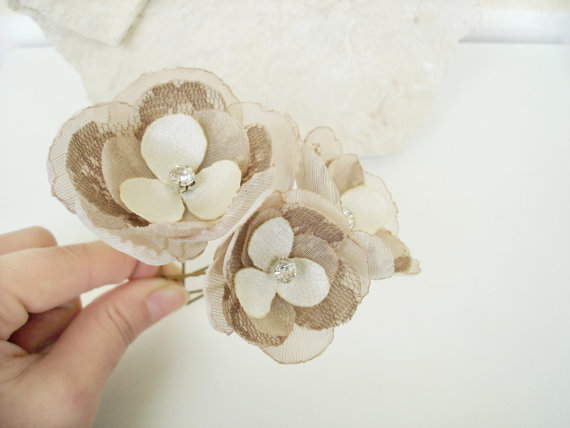 Hochzeit - Rustic Champagne Wedding Hair Flower Pins, Lace Burlap Bridal Hair Accessories Crystal