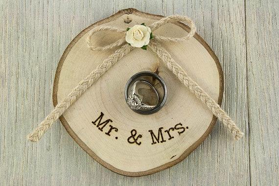 Wedding - Rustic Wooden Wedding Ring Bearer Pillow -  75104W1