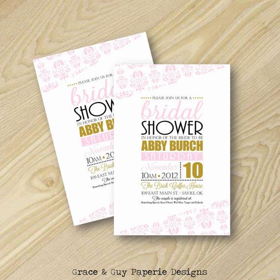 زفاف - Bridal Shower Invitation - Pink and Gold Invitation - Pink Damask
