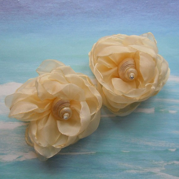 Mariage - Seashell Shoe Clips - Elegant Shells - Seashell Organza Flower Shoe Clips