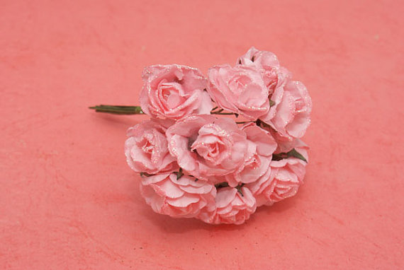Mariage - Paper Flowers, bunch of 12 stems - Small Bouquet - wedding, party favour,  scrapbooking