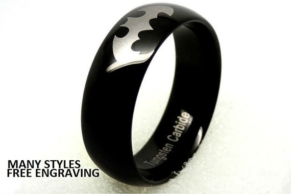 Top Quality Tungsten Carbide Wedding Band 8mm Old School Batman Ring 671367285287