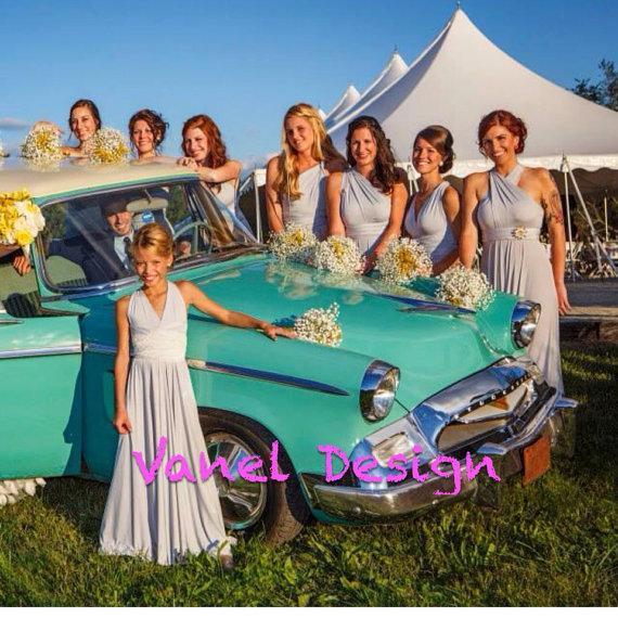 Wedding - Flower Girl Dress, girls infinity convertible, junior bridesmaid dress, chic birthday party princes dress