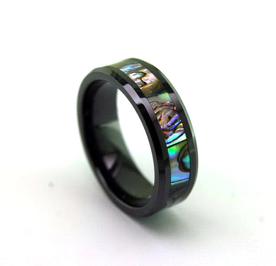 Wedding - 8mm Beveled Black Ceramic Ring w/ Abalone Inlay - Wedding Ring - Promise Ring / Engagement Ring - Father's Day Gift Idea