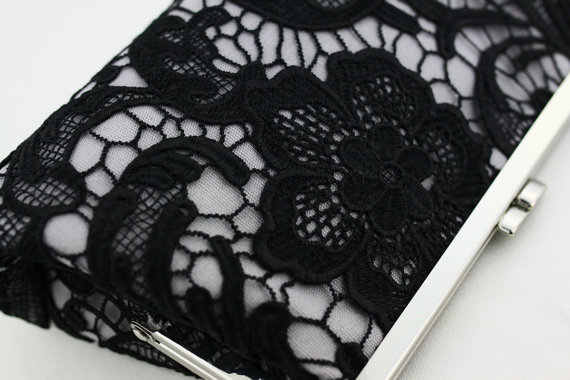Свадьба - Black Lace Clutch / Wedding Gift / Bridal Clutch / Bridesmaid Purse Clutch - 8 inches Christine Style Clutch
