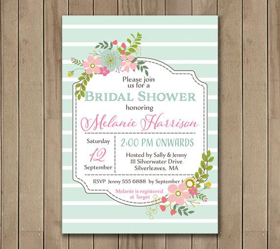 زفاف - Floral Bridal Shower Invitation. Pastel Colors. Baby Shower. Digital Invitation 0132a