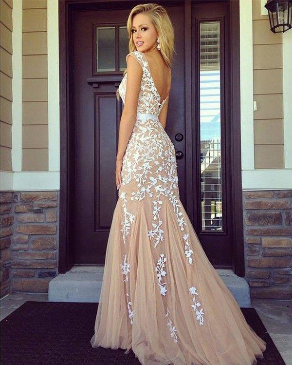 Wedding - Lace Mermaid Prom Dress, Long Prom Dress, Prom Dress Online, 2015 New Prom Dress, Blush Pink Prom Dress, 16056 From OkBridal