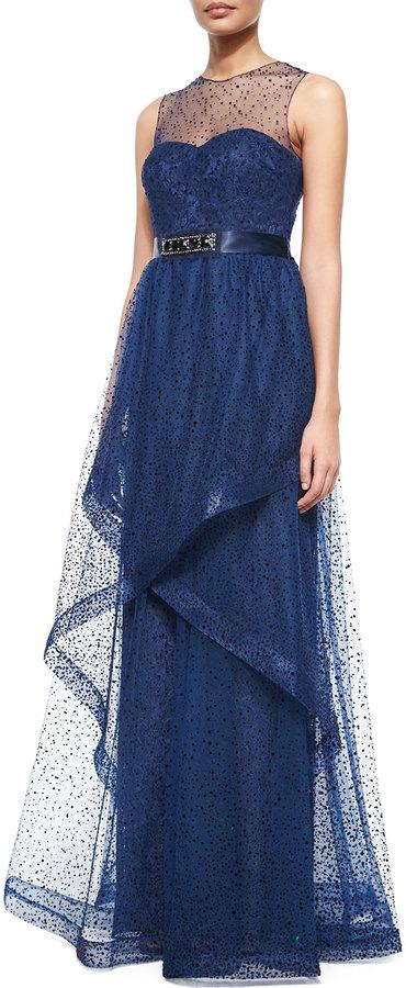 Rickie Freeman For Teri Jon Sleeveless Flocked Lace Illusion Gown ...