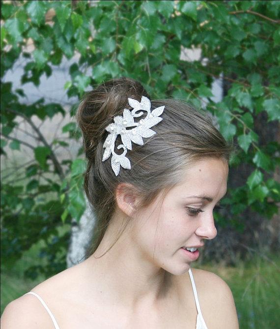 Mariage - Bridal Head Piece, Hair Vine, Wedding Head Piece, Beaded Rhinestone Head Piece, Leaf Head Piece, Beaded Hair Comb, Crystal Rhinestone Comb