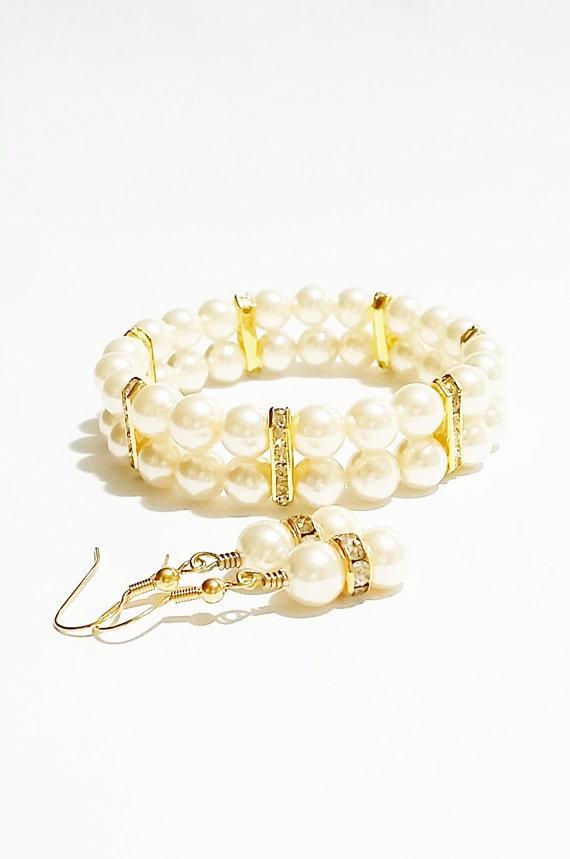 Mariage - Ivory Pearl Jewelry Set / Bijoux de Mariage / Joya Boda / Bridal Party Gift / Ivory Wedding / Bridesmaid Jewelry / Pearl Bracelet  Set
