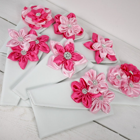 Mariage - Personalized Pink Wedding Clutches