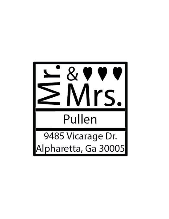 Wedding - Square Mr. and Mrs. Return Address - Custom Rubber Stamp - Deeply Etched - You Choose Size