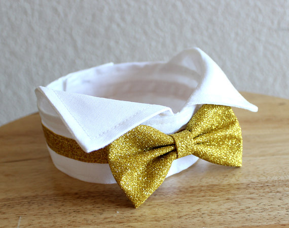 Gold And White Dog Bow Tie Collar Tuxedo Wing Tip Bowtie Wingtip Wedding More Colors Available