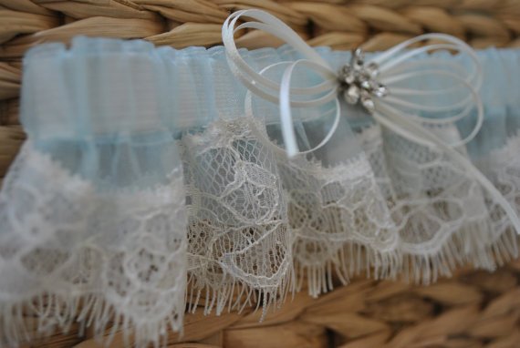 Свадьба - Ready To Ship, Blue Lace Garter, Wedding Garter, Lace Garter, Bridal Garter, Eyelash Lace Garter