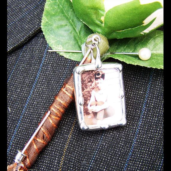 Hochzeit - Lapel Pin Charm  Boutonniere Charm, Memorial Photo Stick Pin, Wedding Keepsake, Bridal Bouquet Pin