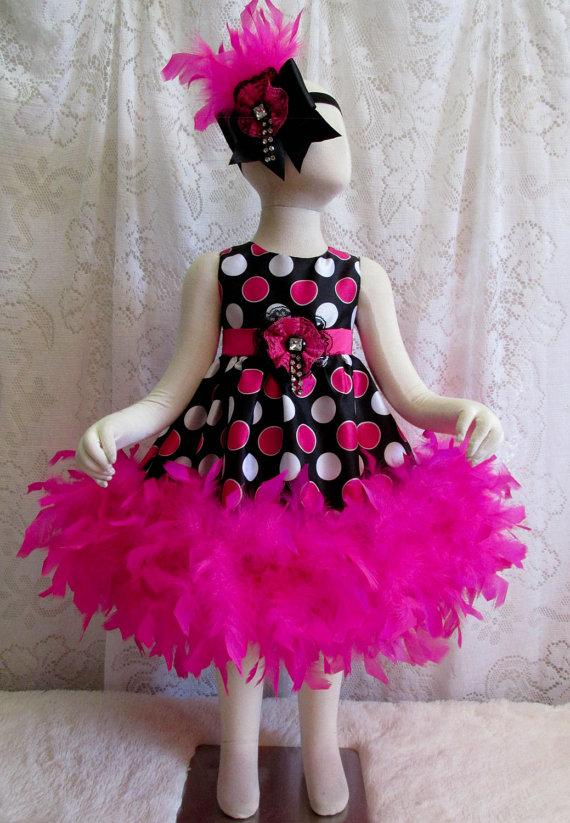 18 24 Mo Black Hot Pink White Polka Dot Feather Dress Matching