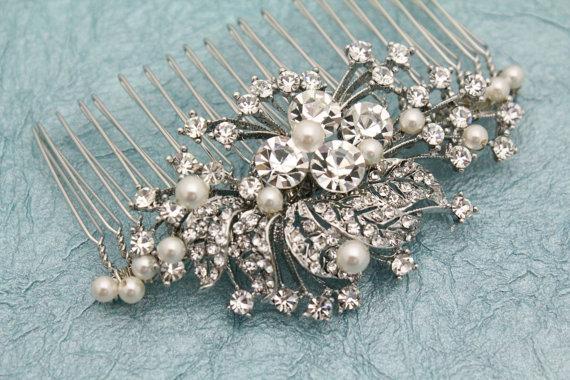 Свадьба - Vintage style Bridal hair comb Wedding hair jewelry bridal hair accessory wedding jewelry bridal headpiece wedding headpiece bridal comb