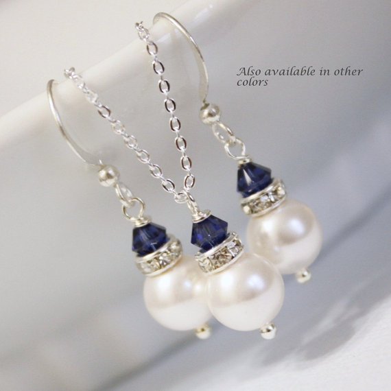 Свадьба - CUSTOM COLOR Sterling Silver Jewelry Set, White Pearl and Navy Jewelry Set, Bridesmaid Gift, Wedding Jewelry Set