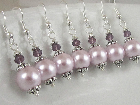 Pink Pearl Bridal Earrings Pale Pink Bridesmaid Jewellery Pearl