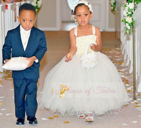 Wedding - Flower Girl Dress, Flower Girl Tutu Dress, Tutu Dress, Ivory Flower Girl Dress, Tulle Flower Girl Dress, Girls Dress, Girls Tulle Dress