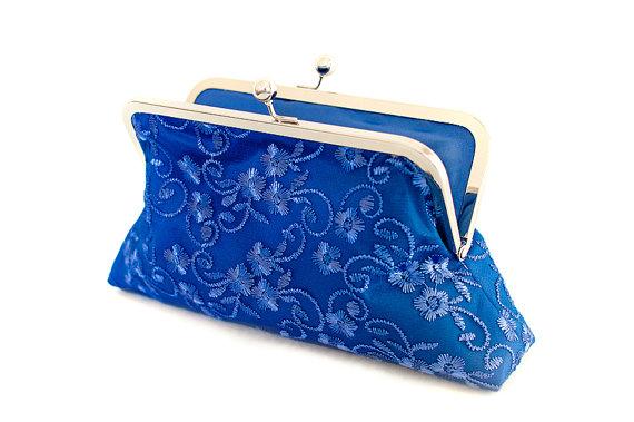 زفاف - Royal Blue Wedding Purse Clutch Satin Lace Romantic Floral Large Size Bag Ready to Ship