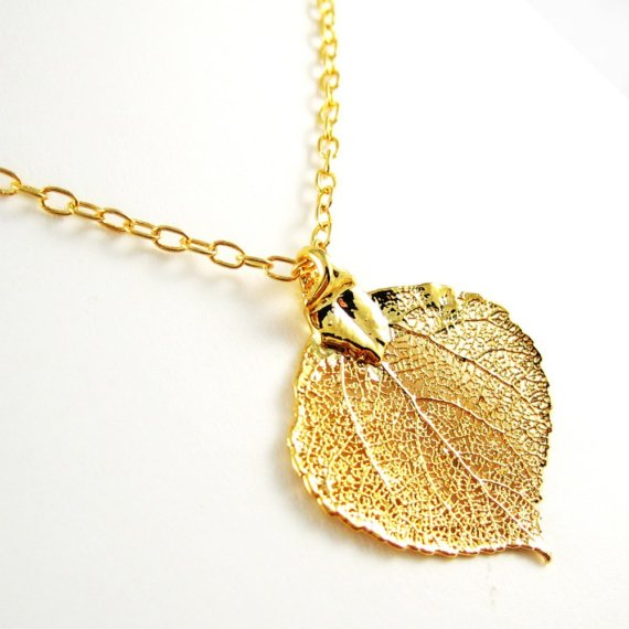 Свадьба - Gold Aspen Leaf Necklace Nature Jewelry Autumn Gold Jewelry Gift Spring Bridal Jewelry Wedding Sale