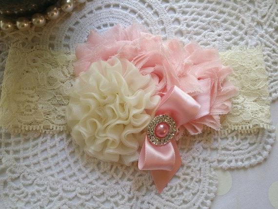 Свадьба - Shabby Chic Headband Girl/Shabby Chic Headband Infant/Shabby Chic Headband Newborn/Pink Headband/Baby Headband/Toddler Headband for Girls