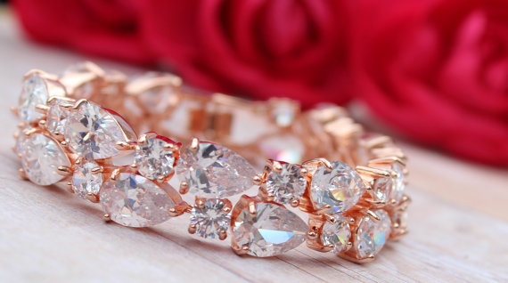 Rose Gold Bridal Bracelet Rose Gold Bridal Jewelry Diamond