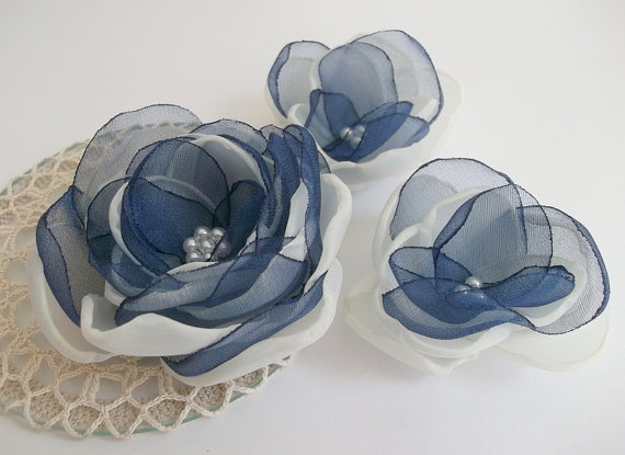 Mariage - Cream Ivory and Navy Blue flower in handmade, Bridal hair dress shoe accessory, Something Blue, Hair Shoe clip, Brooch, Bridesmaids Set 3