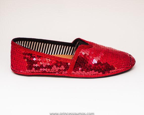 Mariage - Sequin Red Alpargata Canvas Classics Slip On Shoes