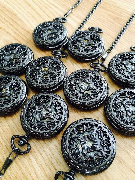 Свадьба - Lot of 9 Mens Mechanical Pocket Watches with Chain Gunmetal Black Celtic Knot Personalized Groomsmen Gift  Ships from Canada