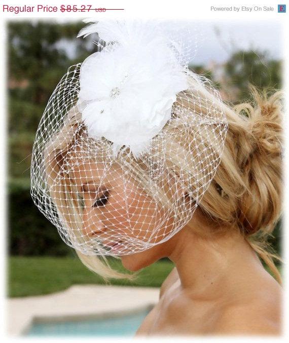 Hochzeit - Bridal birdcage fascinator,Bridal headpiece, feathers rhinestone Russian veil, Bridal Hair pin,bridal hair accessory