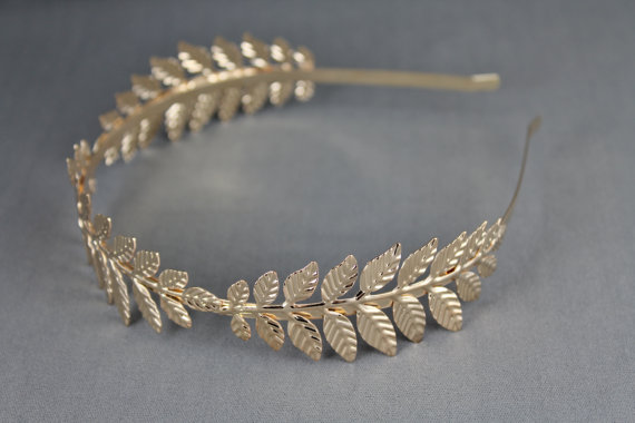 Свадьба - Gold leaf headband laurel crown leaves shiny metal thin skinny hair band accessory bridal wedding prom goddess coronas