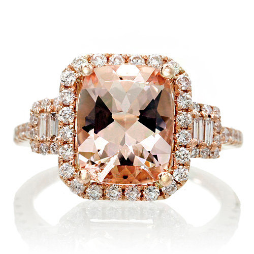 18K Rose Gold 10x8 Cushion Cut Diamond Halo Three Stone Morganite