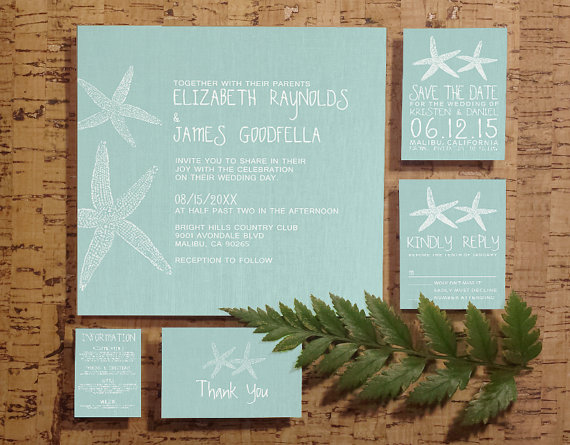 rustic pair of starfish wedding invitation setsuite invites save the date rsvp thank you cards response card printablepdfprinted rustic pair of starfish wedding invitation set suite, invites,Invitation And Response Card Set