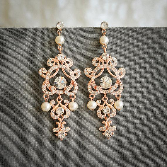 Rose Gold Wedding Earrings, Swarovski Pearl And Crystal Bridal ...