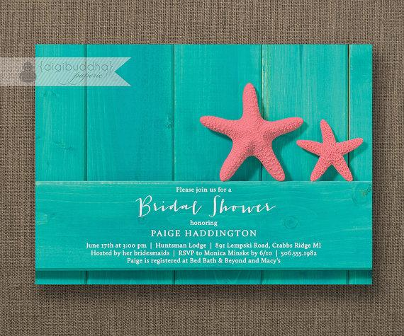 Hochzeit - Turquoise Beach Bridal Shower Invitation Pink Starfish Teal Wood Shabby Chic Rustic Wedding FREE PRIORITY SHIPPING or DiY Printable- Paige