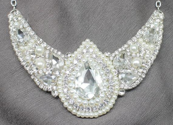 Mariage - Rhinestone Bridal Statement Necklace- Rhinestones & Pearl Bridal Necklace-Wedding Necklace-Swarovski Necklace-Bridal Jewelry-Pear Rhinestone