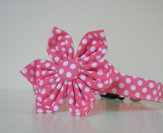 زفاف - Pink Polka Dot Dog Flower Collar Wedding Accessories Made to Order