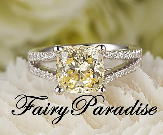 Mariage - 2.5 Carat Man Made Yellow Diamond Engagement Ring / Promise Rings, Cushion Cut Split Shank Halo Set in 925 Sterling Silver ( FairyParadise )