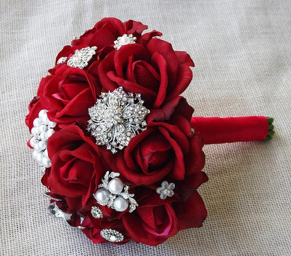 Silk Red Brooch Wedding Bouquet Natural Touch Roses And Flower Jewel 8 Bride Rhinestones