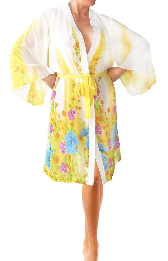 Stunning Yellow Floral Italian Silk Chiffon Women Kimono