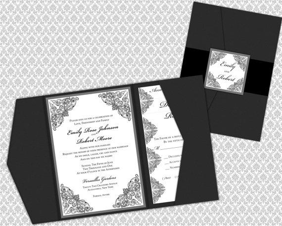 Wedding - DIY Printable Wedding Invitation Template Set (Pocket Invitation)
